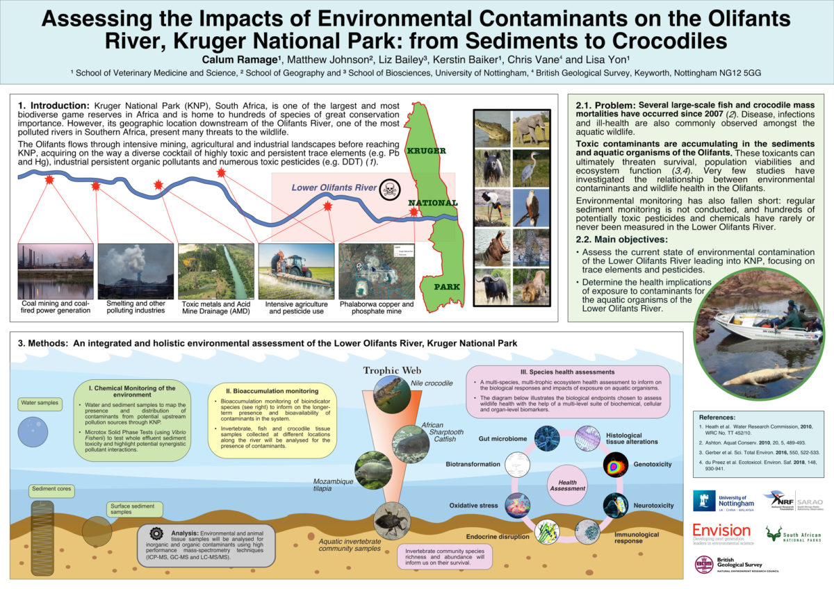 Calum Ramage / Envision / Assessing the impacts of environmental contaminants on the Olifants River, Kruger National Park: from sediments to crocodiles